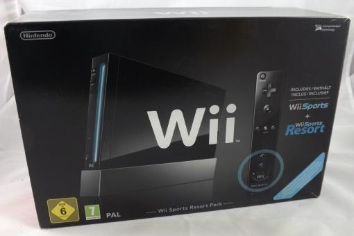 Nintendo Wii Konsole (RVL-001) Schwarz - Wii Sports / Resort Bundle in OVP