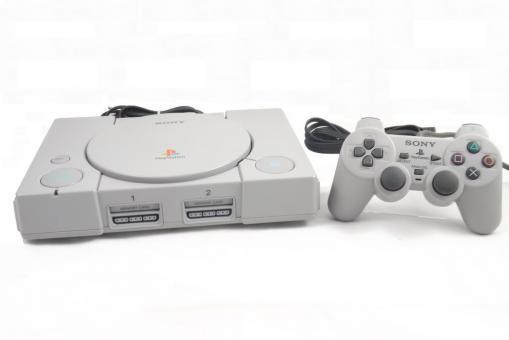 Sony PlayStation 1 Konsole (PSX) Grau, PS1 + Original Dualshock Controller